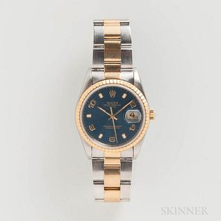"Rolex Two-tone Reference 15223 Wristwatch, c. 1993, 18kt gold fluted bezel, blue dial with applied gilt arabic numerals marked ""Rolex O"