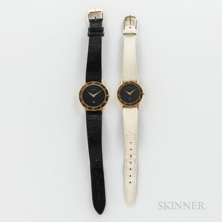 Two Gucci Fashion Wristwatches, both with black dials, signed crowns, and quartz movements.