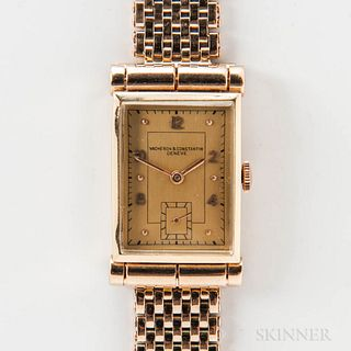 Vacheron Constantin 14kt Gold Tank Wristwatch, c. 1940s, raised crystal above the arabic numeral gilt dial, dot indices, sub-seconds at