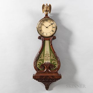 Walter Durfee Lyre or Harp Pattern Wall Clock, Providence, Rhode Island, c. 1910, mahogany case with brass bezel over the painted zinc