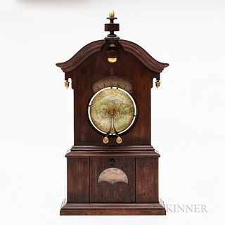 "Timby Walnut ""Solar Timepiece"" or Globe Clock, Saratoga Springs, New York, c. 1865, the scroll-top case with central turned finial and"