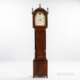 New England Cherry Tall Clock, c. 1830, black and gilt-painted fret over the free standing reeded columns, roman numeral painted iron d