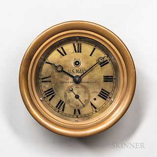 E. Howard & Co. U.S. Navy Deck Clock, no. 265, hinged brass case enclosing the 6 1/4-in. dia. engraved roman numeral brass dial marked