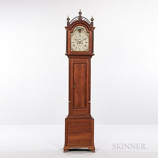 John Osgood Cherry Tall Clock, Haverhill, New Hampshire, c. 1800, fret-top case above the freestanding reeded columns, roman numeral pa