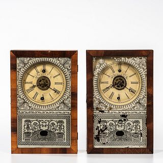 Two New England Clock Co. Cigar Box Clocks, Bristol, Connecticut, mahogany cases with original signed dials, reverse-painted tablets an