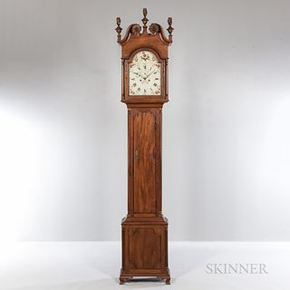 Philadelphia Mahogany Tall Clock Attributed to John Scott, c. 1785, possibly the Chambersburg or Carlisle area of Pennsylvania, turned