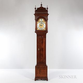 John Wood Figured Walnut Tall Clock, Philadelphia, Pennsylvania, c. 1750, carved blind fretwork and stepped molded sarcophagus top abov