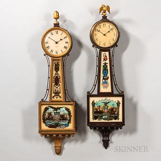 "Two American ""Banjo"" Clocks, 20th century, a mahogany Waltham time-only with patriotic glasses, signed movement, wood rod pendulum, and"