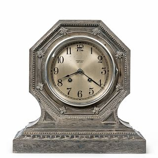 Tiffany & Co. Brushed Silvered Shelf Clock by Chelsea Clock Co., unusually finished octagonal case with cast floral decoration surround