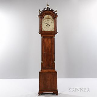 "Inlaid Mahogany Tall Clock, signed ""S. Willard,"" c. 1790, pierced fret-top case with freestanding stop-fluted columns flanking the arab"
