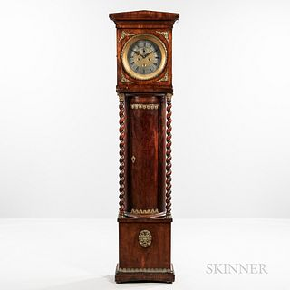 Ormolu-mounted Mahogany European Longcase Clock, 19th century, pediment hood above the brass dial with roman numeral lead chapter ring,