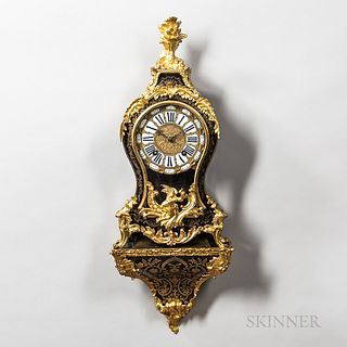 Louis XVI Ormolu-mounted Boulle Clock and Bracket, late 18th century, gilt-brass fern finial above the boulle marquetry and ormolu-moun