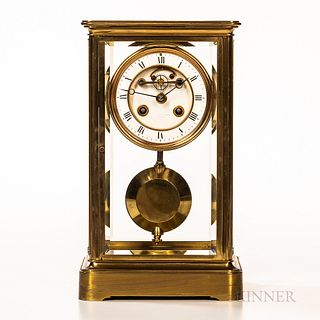 French Lacquered Brass and Glass Crystal Regulator, retailed by G. Well & Son, Oxford, two-piece enameled dial with roman numerals and