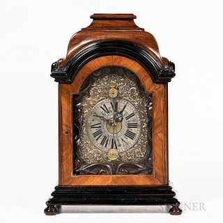 Ebonized and Walnut Veneered Zappler Shelf Clock, Austria, bonnet-top case with hinged front door opening to a carved wooden dial mat,