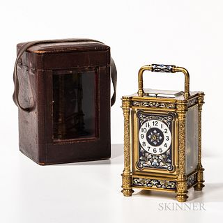 Engraved Grand Sonnerie Cloisonne Carriage Clock, France, engraved gilt-brass case with blue and white cloisonne panels, eight-day time