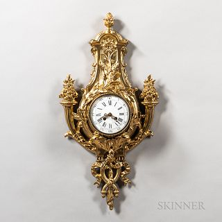 Cast Gilt Cartel Clock, late 19th/early 20th century, 5-in. dia. roman numeral dial with arabic numeral minute track, pierced gilt hand