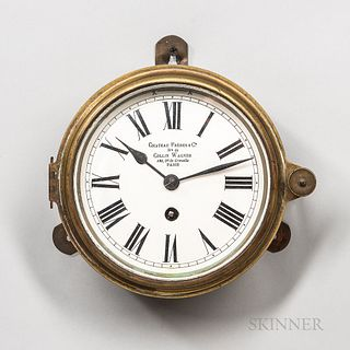 Chateau Freres & Cie. Brass Ship's or Deck Clock, retailed by Collin Wagner, Paris, 5 1/2-in. dia. enameled roman numeral dial marked a