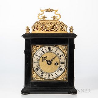 Benjamin Bell Basket-top Pull Quarter-repeat Ebonized Timepiece, London, late 17th century, carrying handle above the single repouss? b