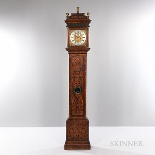 Marquetry-inlaid London Longcase Clock, J. Higginson, London, 17th/18th century, the marquetry sarcophagus top with blind fret above th