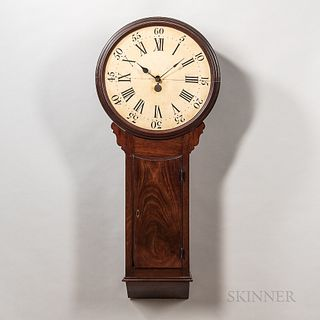 """English Tavern or """"Act of Parliament"""" Clock, early 19th century, 20-in. turned bezel surrounding the white-painted roman numeral wooden"""