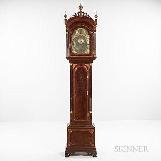Inlaid Mahogany Ellicott Signed Longcase Clock, possibly John Ellicott, c. 1795, pierced fret hood above the stop-fluted reeded freesta