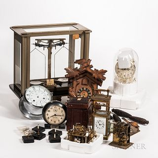 Collection of Clocks and an Analytical Balance Scale, eight-day German ship's clock in chrome case; French eight-day carriage clock wit