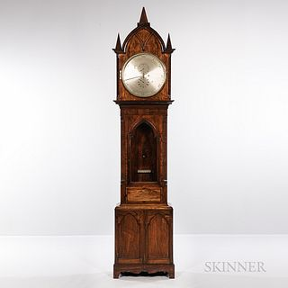 Gothic Walnut Astronomical Floor Regulator, gothic walnut veneer case with lancet-top hood and three pyramidal finials over the glazed