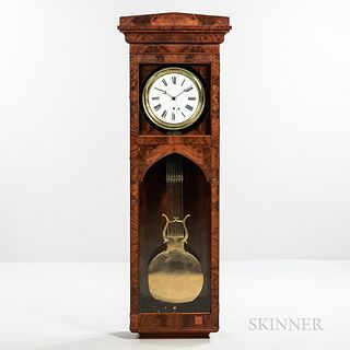 Mahogany Pinwheel Wall Regulator, mahogany case with glazed dial and lower doors, 11-in. enameled roman numeral dial, blued-steel hands
