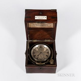 """Two-day Marine Chronometer by French, c. 1845, brass-bound mahogany box with double-hinged lid, bone boss reading """"Examined and Sold by"""