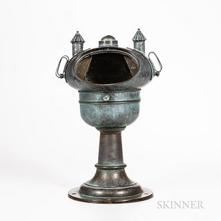 Brass Yacht Binnacle on Pedestal, verdigris mushroom-shaped brass case with viewing window, two removable lighting devices flank the in