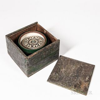 T.S. & J.D. Negus Boxed Compass, New York, c. 1870, green-painted dovetailed case with green-painted gimbaled compass bowl, 6-in. dia.
