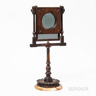 19th Century Mahogany Inlaid Magnifier, mid to late 19th century, turned frame with inlaid hinged frame with a 4-in. dia. magnifier, fr