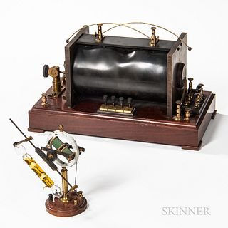 Geissler Tube with Rotating Motor and Induction Coil, c. 1900, Wheatstone rotating motor with a 6-in. Geissler tube, and four electric
