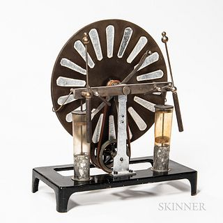 Wimhust Electrostatic Induction Generator, Germany, c. 1900, small version with a 9 3/4-in. disc, mounted to its original pin-striped c