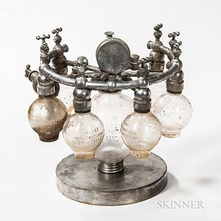 """Tabletop Six-globe Nebulizer or """"Globe Multinebulizer,"""" Battle Creek, Michigan, late 19th century, nickel-plated base with central glob"""