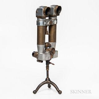 Japanese WWII 8x6.2 Periscope Binoculars, mounted to a custom tripod stand, ht. 19 1/2 in.