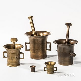 Three Brass Mortar and Pestles and a Small Mortar, Europe, ht. 2 to 5 1/2 in.