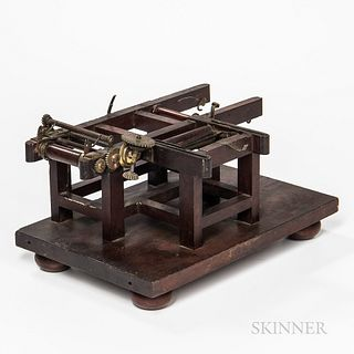 Block or Wall Paper Printing Machine Patent Model, Worcester, Massachusetts, c. 1848, mahogany frame with brass gearing, original paper