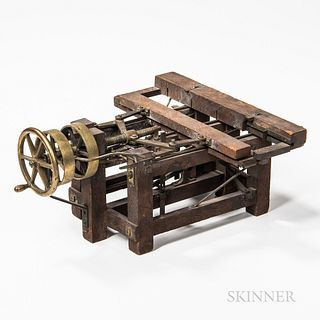 Brass and Wood Patent Model or Salesman's Sample, late 19th/early 20th century.