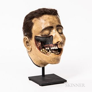 Early Wax Dental Model, possibly France, mid-19th century, full bust with original hair, eyebrows, and eyelashes, cut-away portion of j