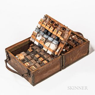 Early Leather and Brass Traveling Apothecary or Medicine Case, central hinged case with dual carrying handles opening to two interior h