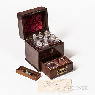 Early Diminutive Mahogany Apothecary or Medicine Traveling Case and Associated Apothecary Receipt, hinged lid with interior velvet-line