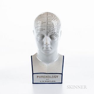 Reproduction L.N. Fowler Ceramic Phrenology Head, 337 Strand, London, cranium divided by ink lines into areas representing the sentimen