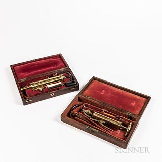 "Two 19th Century Cased Enema Sets, both with velvet-lined fitted mahogany cases, wood and bone fittings, one engraved on syringe ""Savig"