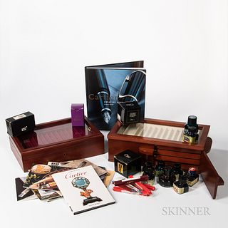 Collection of Fountain and Rollerball Pen Boxes, Books, Ink, and Empty Boxes.