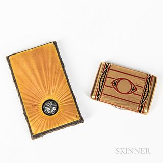 Vintage Matchstick and Cigarette Holder, sterling silver cigarette case with guilloche and paste stone decoration, and a gilt and ename