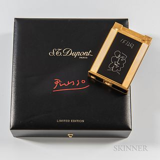 "S.T. Dupont Limited Edition ""Picasso"" Lighter, 23kt gold plating and black lacquer lighter no. 114/500, with box."