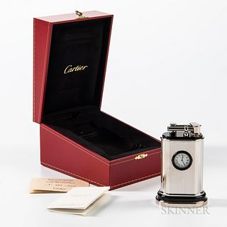 Cartier Limited Edition Table Lighter Watch, no. 265/1000, with box and certificate.