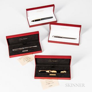 Four Cartier Pens, limited edition black lacquer and gold leaf pen no. 0537/1847; a limited edition platinum plated and blue enameled r