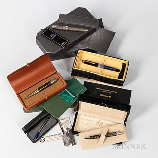 """Five Miscellaneous Rollerball Pens, an Omas """"T2"""" with boxes and pamphlet; a Fisher mini """"Space Pen""""; an Underwood with boxes, and pamph"""